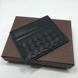 Wholesale Bank Wallets - Weaving Credit Card Holder Ultra Slim Wallet High Quality Genuine Leather Bank ID Card Case for Man Woman 2017 New Arrivals Buiness Card