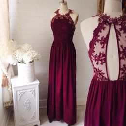 Wholesale Lace Key Hole Back Dress - Burgundy A Line Bridesmaid Dress Jewel Neck Long Chiffon Bridesmaid Gowns with Lace Appliques Key Hole Back Formal Evening Gowns 2017 New