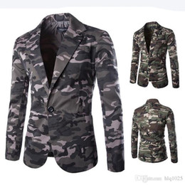 Wholesale Casual Blazer Styles Men - New Mens Blazer Slim Fit Suit Jacket Fashion Men Camouflage Blazer Style Casual Single Button Military Blazer for Men