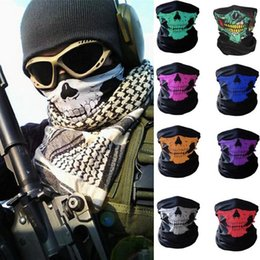 Wholesale Wholesale Bandanas Sports - Newest 10styles Motorcycle bicycle outdoor sports Neck Face Cosplay Mask Skull Mask Full Face Head Hood Protector Bandanas Party Masks C012