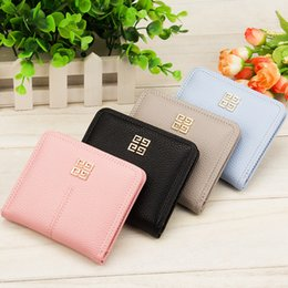 Wholesale Small Ladies Coin Purse - New Lady Girl Candy Colors Cute Wallets Small Short Wallet Coins Purse Card Holder Women Bifold Black Blue Pink Grey A329