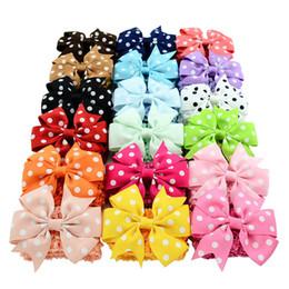 Wholesale Double Bow Clips - Baby Girls Headbands Double Usage Detachable Elastic Girls Bowknot Headbands Polka Dots Bows Clip Turban Hair Accessories Clips KHA238