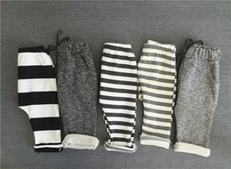 Wholesale Boys Striped Harem Pants - Spring Autumn Kids Pants Boys Girls Cotton Casual Pants 5 colors Loose Trousers Children Grey Striped Clothes Bottoms Clothing 1-6 Years Old