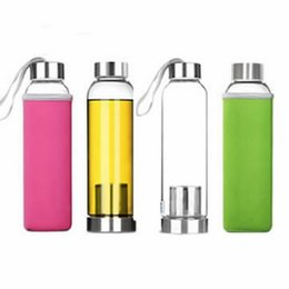 Wholesale glass bottles for water - Tea Infusers CupsTravel drinkware Portable bottle The new design of glass bottle Transparent for water tea glass drinking bottle