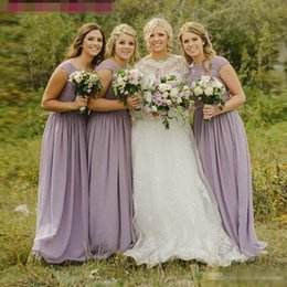Wholesale Woman Wedding Party Long Dress - Modest Lavender Light Purple Chiffon Bridesmaid Dress Long Plus Size Lace Country Wedding Guest Party Dress Women Cheap Prom Gowns 2017