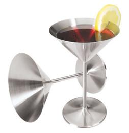 Wholesale Martinis Wholesalers - 200ML Stainless Steel Martini Goblets Stainless Brilliant Stainless Steel Wine Glass Set   Wine Tasting Goblet Set Quality Drinkware