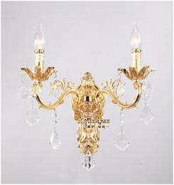 Wholesale Crystal Chandelier Wall Sconces - Wholesale Golden Crystal Wall Light Fixture Silver Wall Sconces Lamp Crystal Wall Brackets Chandelier