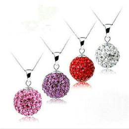 Wholesale Crystal Ball Mm - 12 MM Diamond Ball Pendant Pure Silver Necklace In The Summer With Joker Crystal Pendant Sterling Silver Shambhala Sautoir Shamballa Bracel