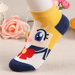 chaussettes à papillon en gros Promotion Femme Fille Printemps Automne Mode Mignon Bateau Coton Chaussettes Cadeau 6 Couleurs Dessin Animé Sailor Moon Navire Femme Dessin Animé Chaud Doux Lovely