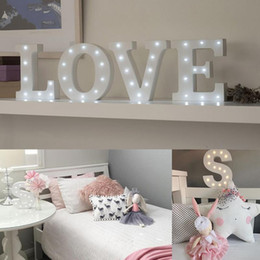 Wholesale Wholesale Alphabet Wall Letters - Wholesale- White Wooden Letter LED Marquee Sign Alphabet Light Indoor Wall Decoration Light Up Night Light 15cm*14cm*3cm