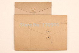 Wholesale A5 File - Wholesale- Joy Free shipping blank brown thick A5 kraft documents bags blank kraft file bags 238*175mm F0127