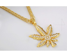 Wholesale Dj Jewelry - Vintage hemp leaf pendant golden Necklace fashion brand hip hop pendants and necklaces club DJ Chain Rhinestone Jewelry Punk