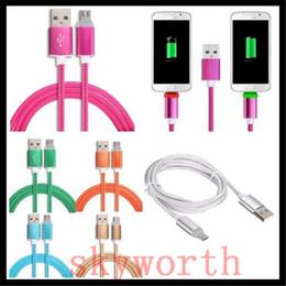 Осветительные телефонные шнуры онлайн-Светодиодная металлическая USB-оплетка для передачи данных Кабель Micro Charging V8 для телефона Android Samsung Fast Charger
