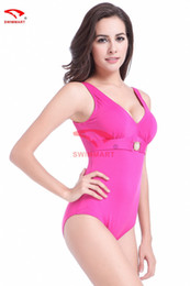 Wholesale Big Blue Swimming - Europe and the United States big yards wetsuit Fat woman swim suit v-neck tall waist backless conjoined bikini