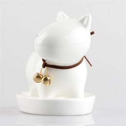Wholesale Large Decorative Bells - reen flower pot Balcony Tabletop Decorative White Small Dog Ceramic Flowerpot Succulent Plant Planter Bonsai A Green Flower Pot With Bell...