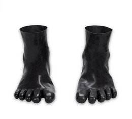 Wholesale Erotic Socks - Sexy Latex Rubber sock with five toe Anatomical 3D mold feet Seamless socks Wear New erotic latex Costume fetish sex toys