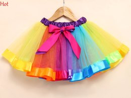 Wholesale Girls Pleated Dance Skirt - Splicing Colorful Skirt Kids Baby Girls Petticoat Princess Party Birthday Dancing Rainboow Skirts Mini Tulle Ball Gown Tutu Skirt SV029861