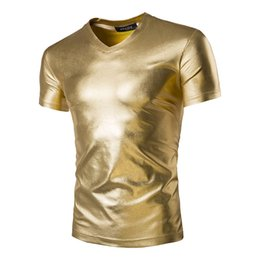 Wholesale Leather Shirts Wholesale - Wholesale- Men's Gold sliver Metallic T-shirt Crazy male Top Short Sleeve Shiny PVC Faux Leather Like Underwear Glossy T-Shirts sexy