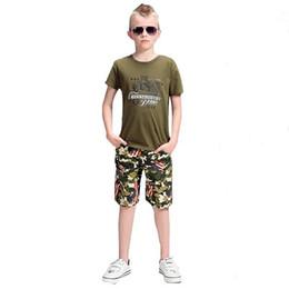 Canada Été Joli Big Boy Vêtements élégant camouflage vert Enfants Garçons Coton Loisirs Casual À Manches Courtes T-shirts Pantalons Ensembles Enfants Vêtements Offre