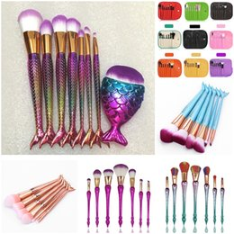 Wholesale Fish Powder - 6 7 8pcs set Mermaid Makeup Brushes Big Fish Tail Foundation Powder Eyeshadow Make up Brushes Contour Blending Cosmetic Brush Kit DHL Free