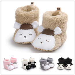 Wholesale Coral Baby Shoes - Baby cute coral fleece warm indoor shoes infants cartoon animal sheep panda plush first walk shoes toddlers autumn winter warm boots for 0-1