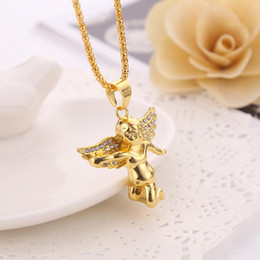 Wholesale Diamante Wings - New Arrivals Hip Hop 18K Gold Plated Wing Angel Pendant Diamante Necklace Fashion Jewelry for Women and Men