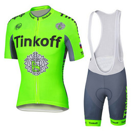 Wholesale Saxo Tinkoff Jersey - saxo bank tinkoff Team fluorescence green cycling jersey short sleeve Ropa Ciclismo bicicletas maillot ciclismo C2916