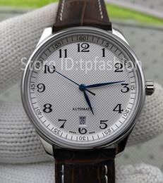 Wholesale Men Complete Designer - Hot Sale Top Fashion Automatic Mechanical Self Wind Watch Men Silver Dial Leather Strap Brand Designer Dress Casual Clock 5171
