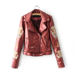 Wholesale Wine Leather Woman Jacket - Wine Red Black Gray Leather Jacket Women Classic outerwear & coats Quality Short Motorcycle With Belt Chaquetas De Cuero Mujer