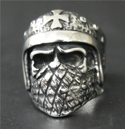 Wholesale Mask Ring Silver - Size 7-13 Cool Silver Cross Helmet Soldier Bandans Mask Skull Ring 316L Stainless Steel Man Biker Ring