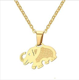 Wholesale Simple Cute Necklace - Gold Plated Elephant Pendants Necklace Simple Design Cute Animal Pendant Jewelry 50MM Chain PN-688
