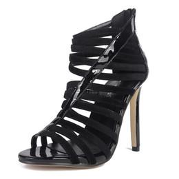 Wholesale Sexy Peep Toe Flat Sandal - Summer Roman style Sandals Women Pumps European Thin heels Booties Ladies Sexy Hollow Peep toe High Heels Stiletto Woman Shoes