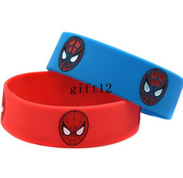 Wholesale Wholesale Superheros - Free Shipping 100 pcs Lot Popular Superheros Spiderman Wristband Silicone Promotion Gift Filled In Color Bracelet