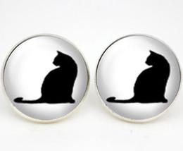 Boucles d'oreilles chat noir en Ligne-Boucles d'oreilles chat noir 10pairs / lot, boucles d'oreilles chat photo en verre cabochon boucles d'oreilles meilleur ami cadeau