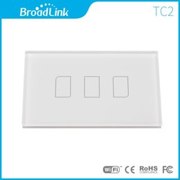 Wholesale Remote Ac Wall Switch - Wholesale-BroadLink TC2 White Crystal Switch Panel, US Standard, AC 110-150V 3 Gang Remote Controlled Wall Light Touch Screen Switch