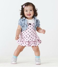 Wholesale Peach Baby Dress - Wholesale- 2017 Hot selling baby girl Dress summer style love peach Princess dress+vest casual dress suit baby girl clothing