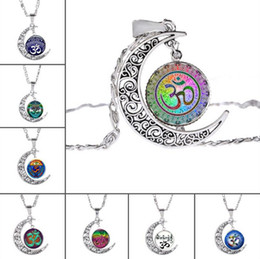 Wholesale moonlight necklace - Good A++ Pendant necklace new glass moonlight gem sweater chain WFN206 (with chain) mix order 20 pieces a lot