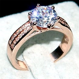 Wholesale Sets For Big Girls - Luxury Jewelry Real 100% 925 Sterling silver&rose gold Wedding Bands Rings finger For Women 8*8mm Big Gemstone 3ct diamond cz ring Girl Gift