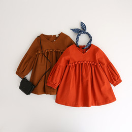 Wholesale New Baby Clothing Long Sleeve - Everweekend Kids Girls Ruffles Autumn Dress Cute Balls Tutu Sweet Baby Fall Long Sleeves Dress Clothing New Arrival