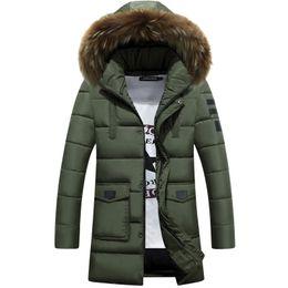 Wholesale Top Fur Coat Brands - Wholesale- 2016 Jacket Men Winter Parkas Fur Collar Long Coat Down Cotton Clothes Brand Clothing Male Snow Tops Outwear Overcoat Windbreak