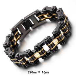 """Wholesale Mens Anniversary Bracelet - Fashion New Mens Bracelets Biker Jewelry Gold Black Plated Stainless Steel Motorcycle Bicycle Link Chain Bracelet 8.66"""" *16mm"""