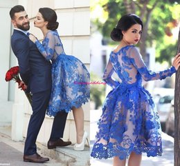 Wholesale Sexy Short Long Dressed - 2017 Sexy Sheer Prom Dresses Jewel Long Sleeve Embroidery Lace Tulles Knee Length Short Vintage Royal Blue Party Homecoming Gowns Vestidos
