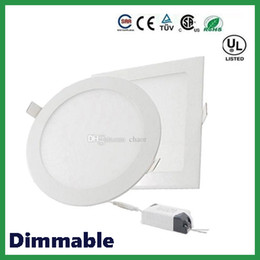 Panel led pulgadas online-Envío libre de DHL Dimmable Round Square LED luces del panel 6W 9W 12W 15W 18W 21W 30W 4-5-6-7-8-9-12 pulgadas empotrable LED luz de techo