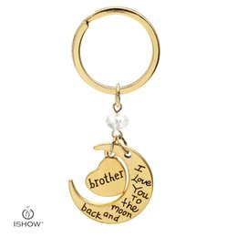 Wholesale Moms Rings - Mom Dad Daughter Sister Grandma Grandpa Brother Uncle Aunt Son I Love you to the moon and back Key Ring Xmas Gift gold color