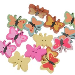 Wholesale Wholesale Crafts For Kids Party - Kimter Butterfly Wooden Sewing Buttons With 2 Holes 22.6x17mm For Party Festival Crafts Scrapbooking Kids' Beading Pack Of 50pcs I664L