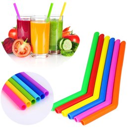 Wholesale Food Tubes - New hot sell food grade Silicone drinking straw colorful Silicone straw with brush recyclable silicone tube IA722