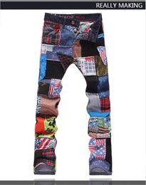 Wholesale Denim Splice Men - Top Quality Original Design Men's Unique Printing Jeans Punk Rock Patch Splicing Printed Stage Jeans Slim Motorcycle Jeans One Size Small
