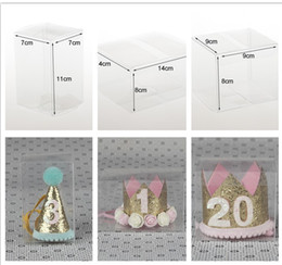 Wholesale Transparent Box Wholesale - Customzied PVC Box for Baby Tiara Headbands Transparent plastic box for All kinds Children Hair Accessories 7*7*11 9*9*8 14*14*8cm KHA416