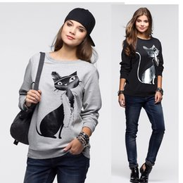 Wholesale Long Sleeve Cat Blouses - Wholesale- Fashion autumn Women Cotton Long Sleeve Loose hoodie sweatshirt warm Tops Blouse Shirt 2017 lady Casual cat print Sweatshirt New