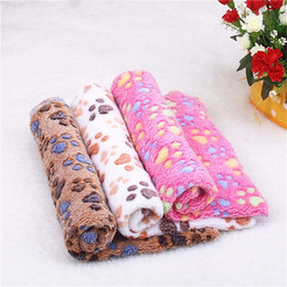 Wholesale Dog Paw Fleece Blanket - Pet Blanket Cute Warm Det Bed Mat Cover Small Medium Large Towl Paw Handcrafted Print Cat Dog Fleece Soft Blanket Puppy Winter